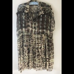Free People Tunic Top with Tank Raw Edges